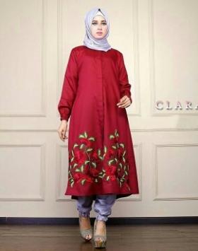 Busana Muslim Trendy Keluaran Terbaru Bahan Balotelli Clara Set red