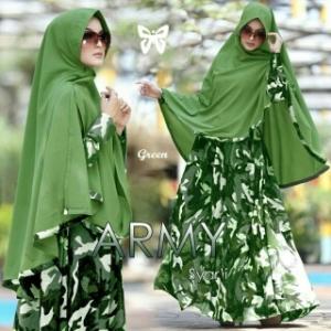 Busana Muslim Wanita Motif Army Dan Syar'i Green