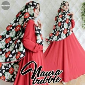 Busana Muslim Wanita Syar'i Bahan Bubblepop Naura Syar'i Maroon