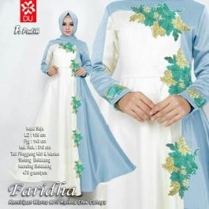 Busana Muslim Wanita Terbaru Faridha Putih Bahan Woolpeach