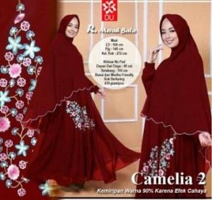 Gamis Busui Bahan Rayon Camelia-2 Syar'i Merah Bata