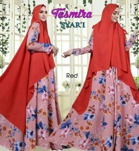 Gamis Busui Cantk Dengan Bahan Bubble pop Tasmira Syar'i Merah