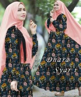 Gamis Cantik Anggun Dhara Syar'i Dusty Bahan Bubble Pop