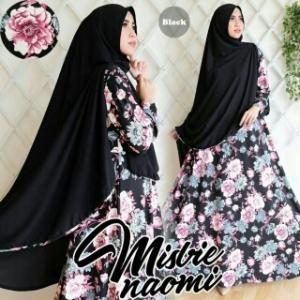Gamis Cantik Bahan Misbi Naomi Syar'i Black