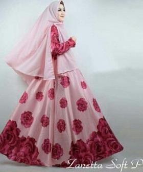 Gamis Cantik Memakai Bahan Maxmara Zanetta Syar'i Soft Pink