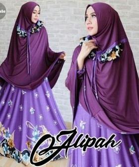 Gamis Jersey Alipah Syar'i Purple Terbaru Modis