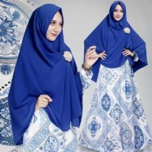 Gamis Muslimah Motif Batik Nirmala Biru