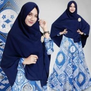 Gamis Muslimah Motif Batik Nirmala Biru Benhur