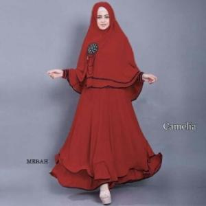 Gamis Syar' Ukuran Kecil Camelia Merah
