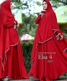 Gamis Syar'i Untuk Pengajian Bahan Bubble Pop Elsa Syar'i Red