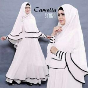 Gamis syar'i Ukuran Kecil Camelia Putih