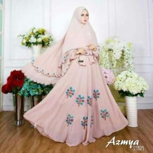 Baju Gamis Cantik Bahan Diamond Crepe Azmya Syar'i Dusty