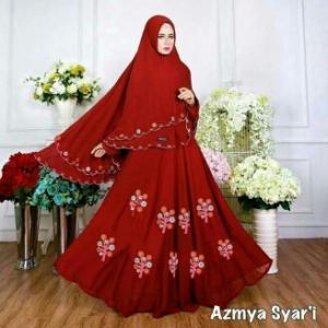 Baju Gamis Cantik Bahan Diamond Crepe Azmya Syar'i Maroon