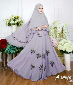 Baju Gamis Cantik Bahan Diamond Crepe Azmya Syar'i Ungu