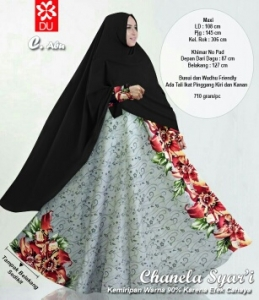 Baju Gamis Cantik Dengan Bahan Baloteli Chanela Syar'i Abu