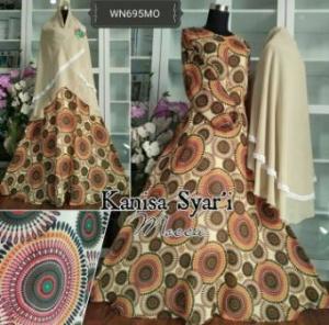 Baju Gamis Cantik Dengan Bahan Crepe Kanisa Syar'i -1