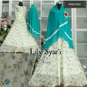 Baju Gamis Cantik Lily Syar'i Untuk Pesta Bahan Ceruty