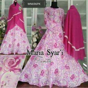 Baju Gamis Katun Impor Maria Syar'i Pink