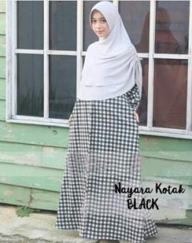 Baju Gamis Katun Jepang Cantik Nayara Syar'i Black