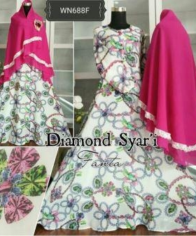 Baju Gamis Terbaru Mewah Bahan Ceruty Diamond Syar'i Pink