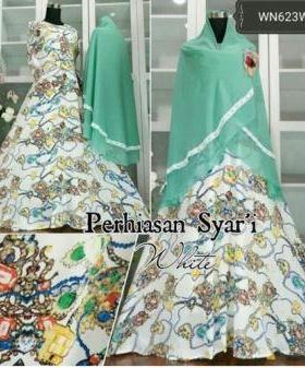 Baju Gamis Terbaru Modis Bahan Maxmara Perhiasan Syar'i