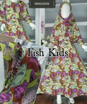 Baju Muslim Anak Cantik Fish Kids Bahan Maxmara