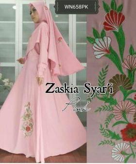 Baju Muslim Wanita Zaskia Syar'i-1 Terbaru Anggun Bahan Wolly Crepe