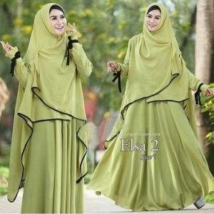 Busana Muslim Lebaran Elsa Syar'i Green tea Bahan Bubble Pop