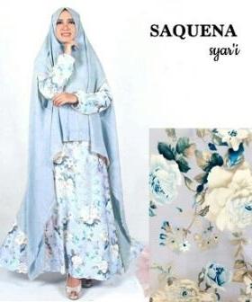 Busana Muslim Terbaru Bahan Baloteli-b Saquena Syar'i Dusty Blue