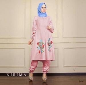 Busana Muslim Trendy Kekinian Bahan Baloteli Nirima Dusty Pink