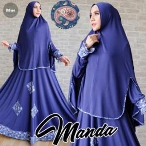 Gamis Jersey Manda Syar'i Blue Cantik