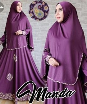 Gamis Jersey Manda Syar'i Purple Cantik