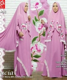 Gamis Muslimah Terbaru Bahan Wollpeach Lucia Syar'i Pink