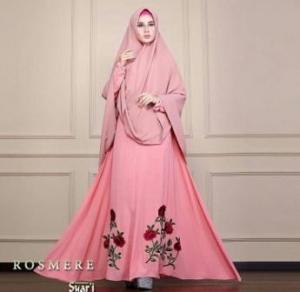 Gamis Muslimah Untuk Pesta Rosmere Syar'i warna Salmon Bahan Ceruty Lapis Furing