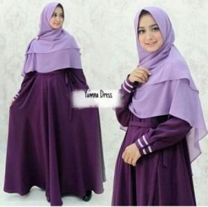 Gamis Syar'i Bahan Balotelli-b Yumna Syar'i Purple