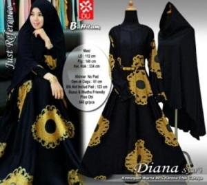Baju Gamis Cantik Diana Syar'i Hitam Untuk Lebaran Bahan Maxmara