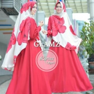 Baju Gamis Cantik Larisa Syar'i Merah Bahan Baloteli