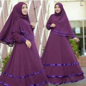 Baju Gamis Terbaru Modis Karinna Syar'i DArk Purple Bahan Ceruty