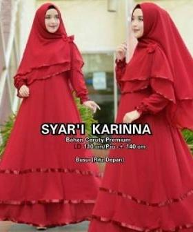 Baju Gamis Terbaru Modis Karinna Syar'i Red Bahan Ceruty