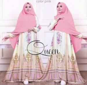 Baju Gamis Terbaru Queen Dusty Pink Bahan Maxmara Lux