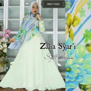 Baju Gamis Terbaru Zalia Syar'i Biru Bahan Wolly Crepe