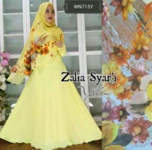 Baju Gamis Terbaru Zalia Syar'i Kuning Bahan Wolly Crepe