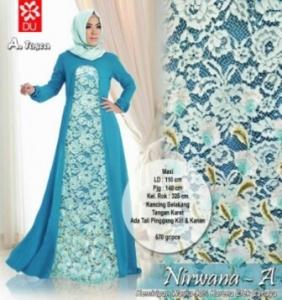 Baju Gamis Untuk Lebaran Nirwana.A Syar'i warna Tosca Bahan Woolpeach