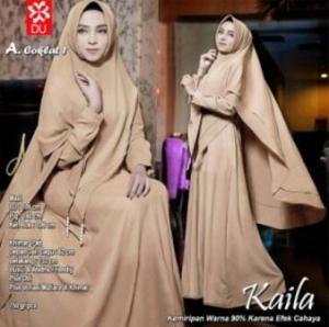 Baju Gamis Wanita Kaila Syar'i Warna Coklat Bahan Woolpeach