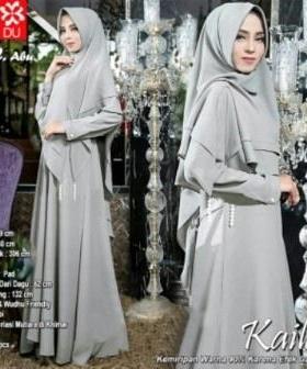 Baju Gamis Wanita Kaila Syar'i Warna abu Bahan Woolpeach