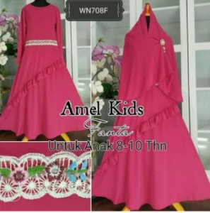 Baju Muslim Anak Cantik Amel Kids Maroon -2