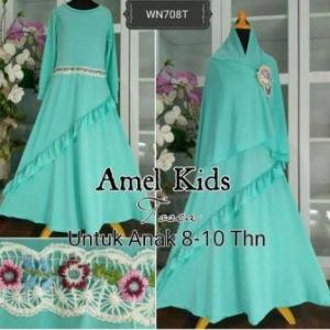 Baju Muslim Anak Cantik Amel Kids Mint