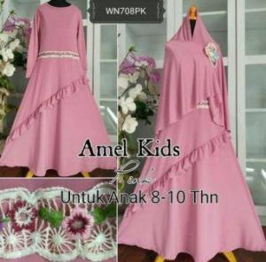 Baju Muslim Anak Cantik Amel Kids Pink