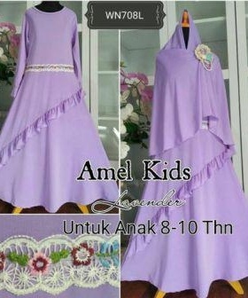 Baju Muslim Anak Cantik Amel Kids Ungu