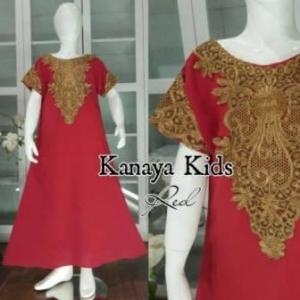 Baju Muslim Anak Perempuan Kanaya Kids warna Maroon Bahan Woolpeach